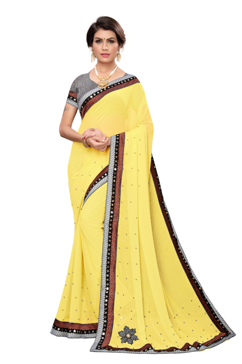 Yellow Color Chiffon Lace Work Saree With Blouse