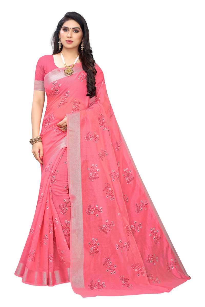 Party Wear Pink Color Printed Saree