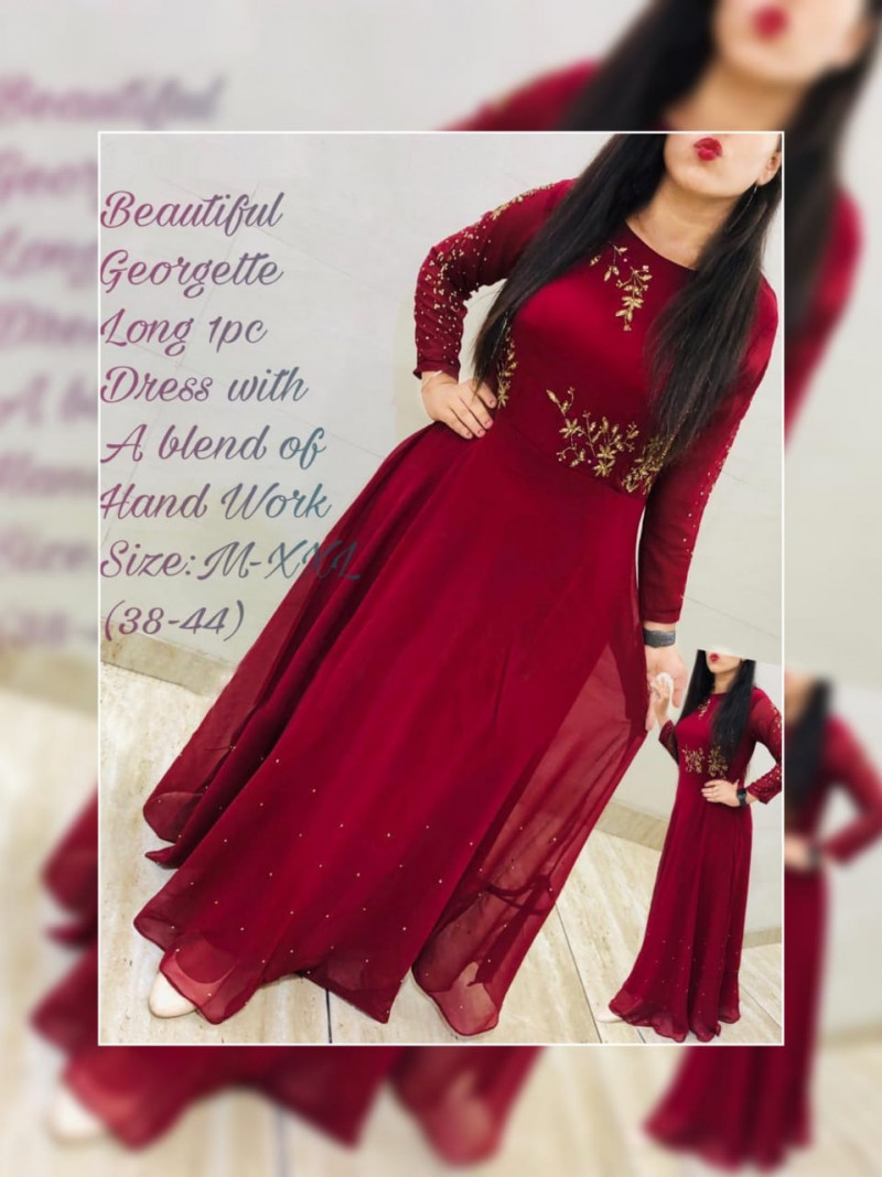 Party Wear Maroon Color Georgette Long Gown