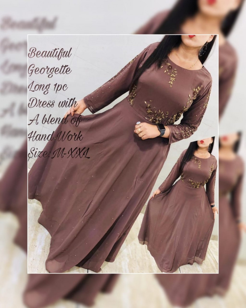 Latest Coffee Color Geoegette Long Gown