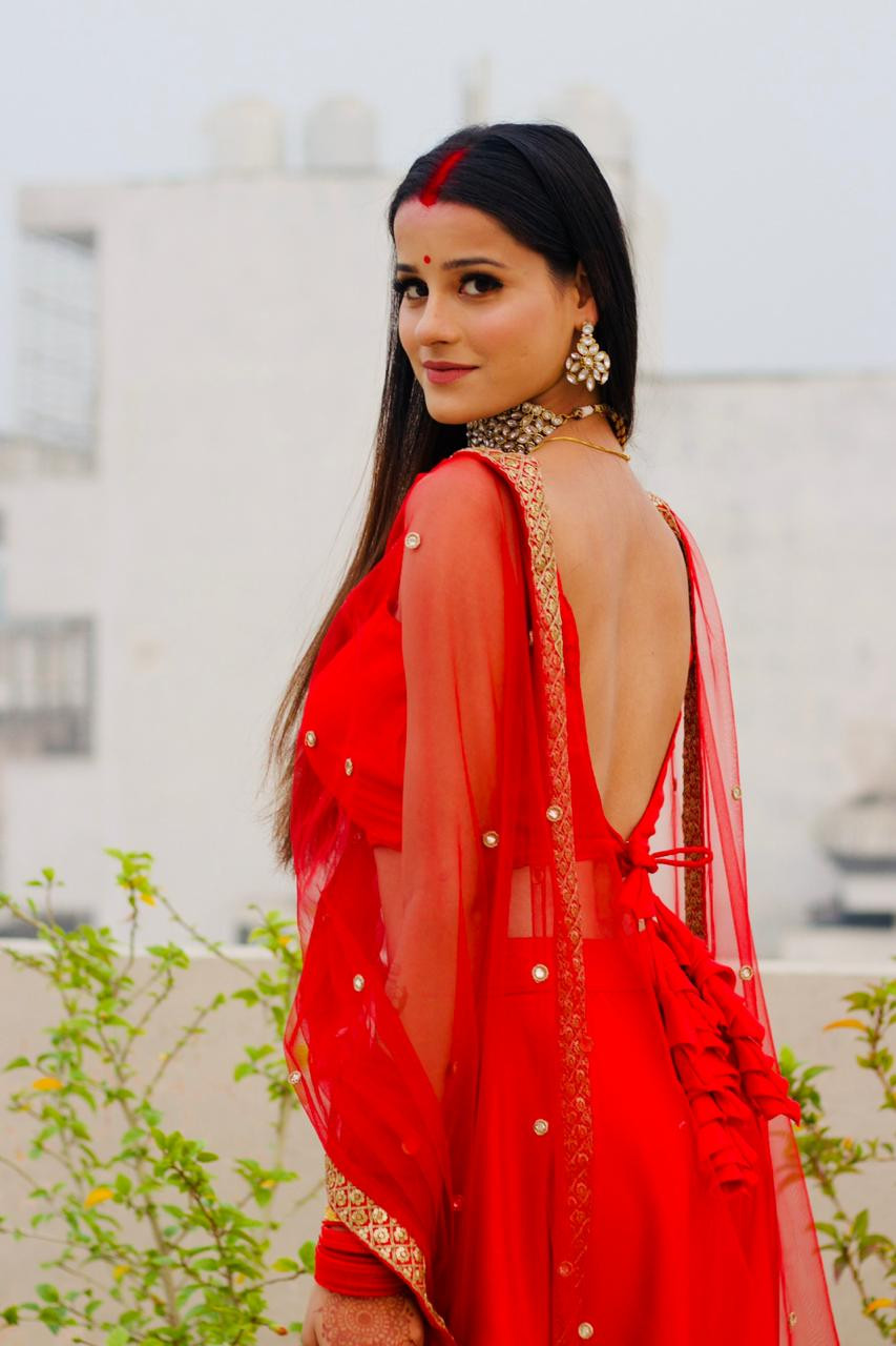 Red Simple Party wear Lehenga Choli