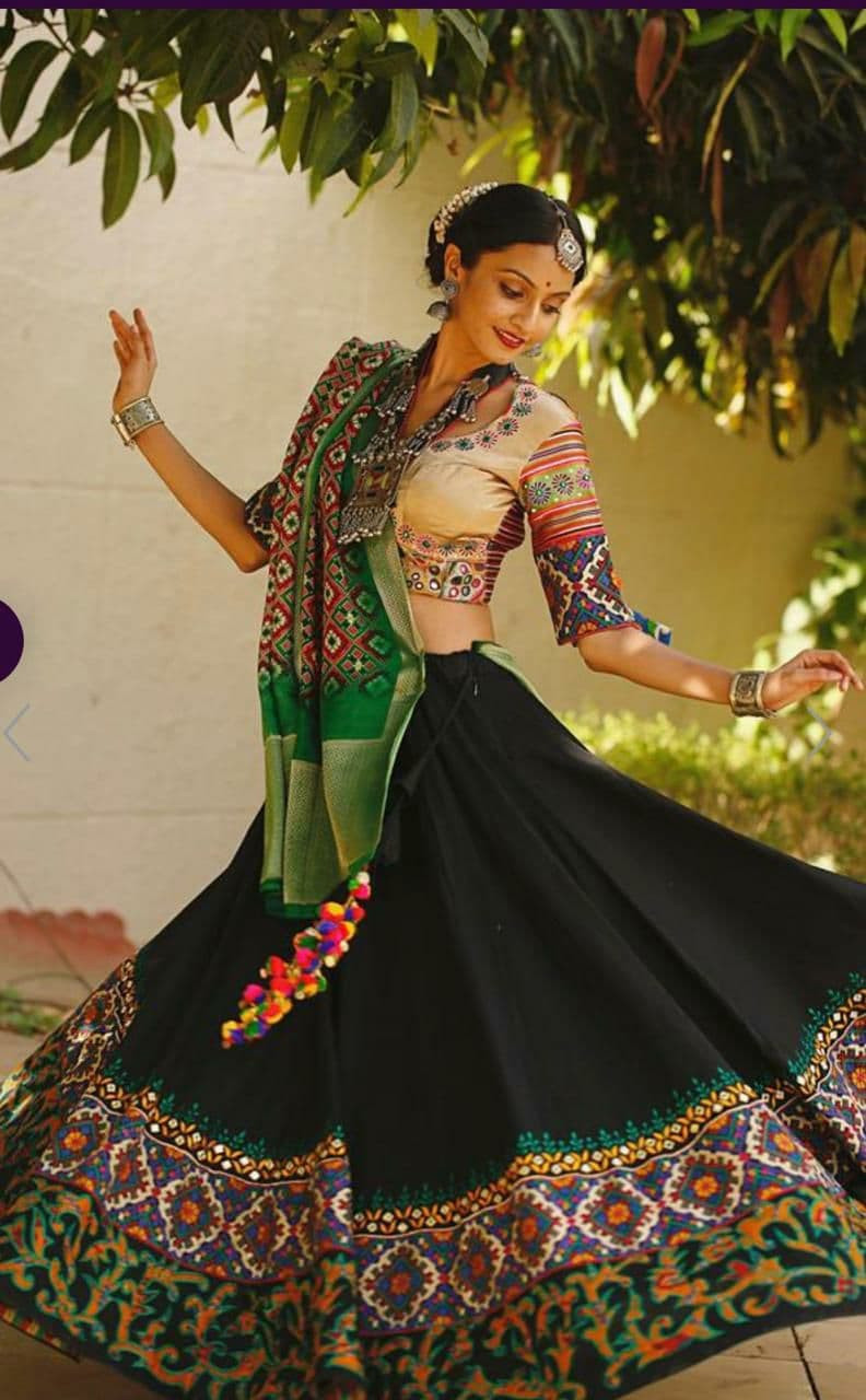 Festival Wear Black Cotton Printed Lehenga Choli