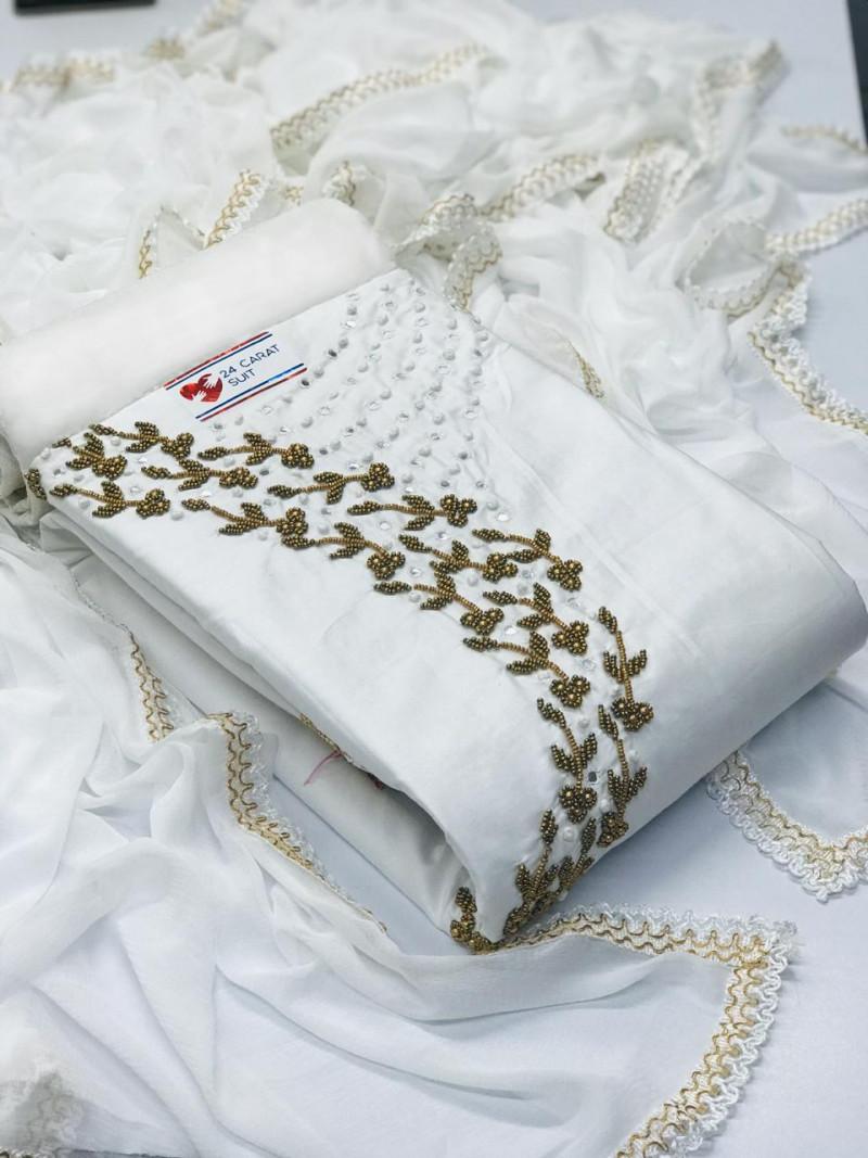 Heavy Cotton White Hand Work Dress Material