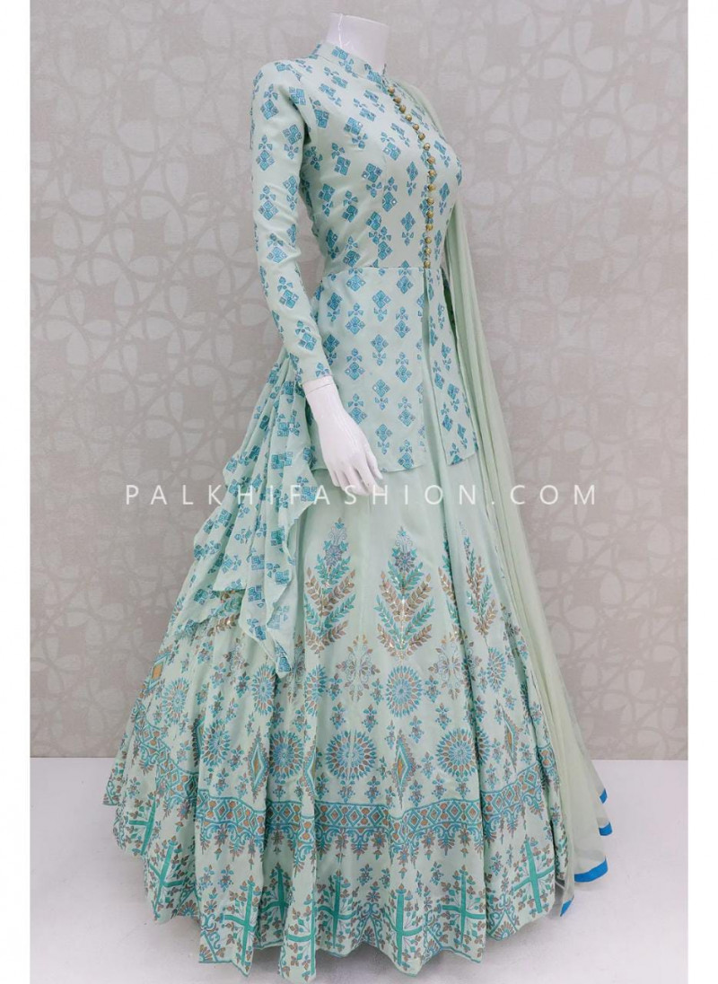 Designer Sky Blue Butter Silk Suit