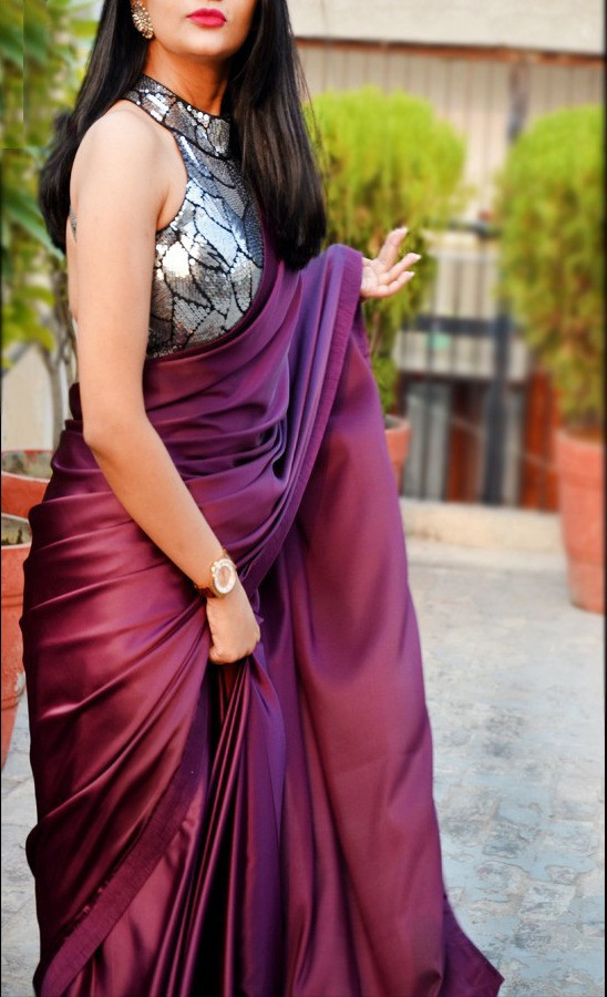Stunning Wine Color Soft Satin Party Wear Sequins Saree