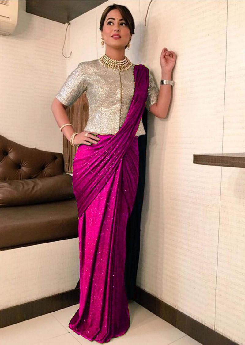 Heavy Georgette Rani Color Saree
