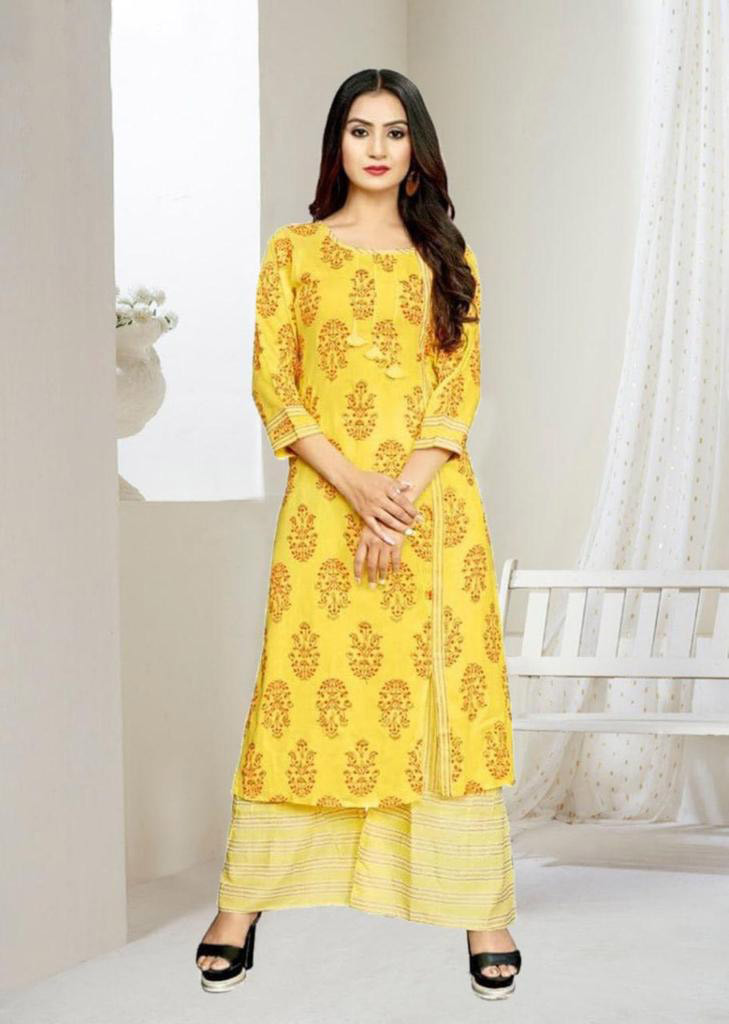 Casual Wear Yellow Palazzo Suit