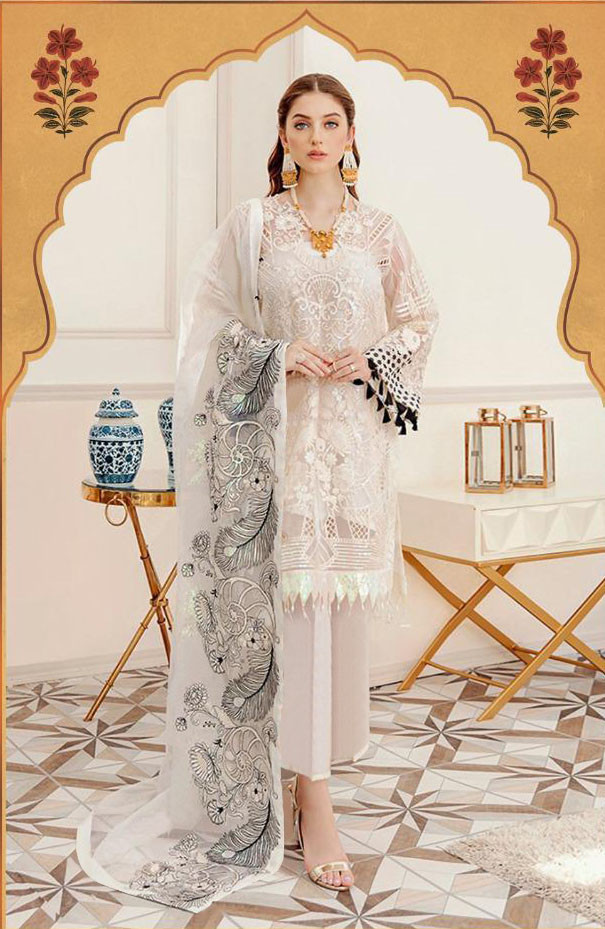Designer White Color Sequin With Embroidery Work Salwar Suit