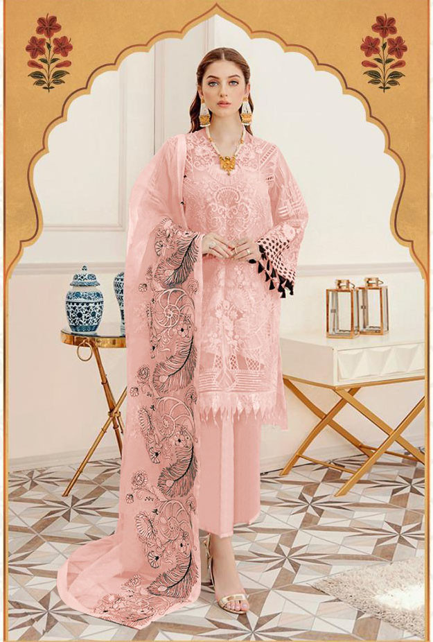 Peach Color Georgette Embroidery Work Salwar Suit