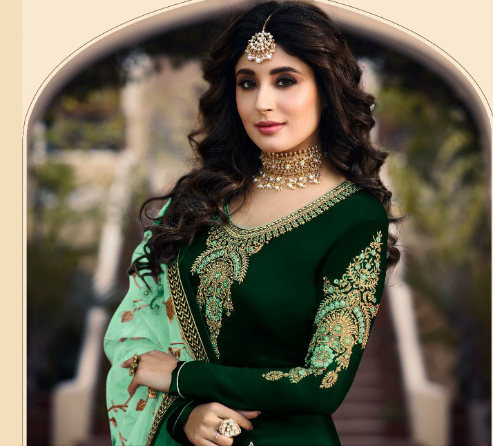 Green Color Embroidery Work Salwar Suit