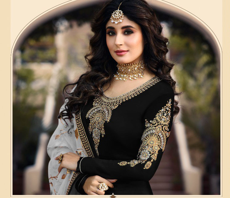 Black Color Party Wear Embroidery Work Salwar Suit