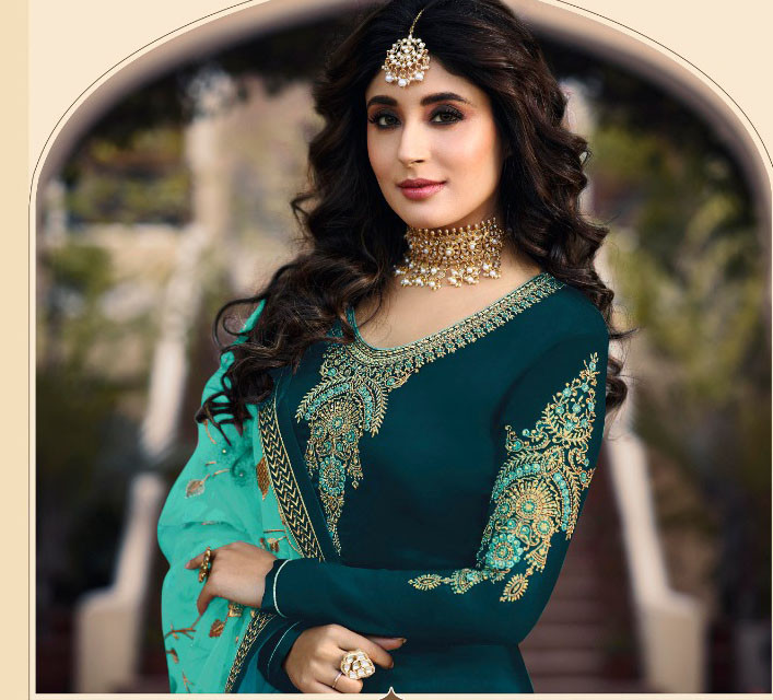 Party Wear Rama Color Embroidery Work Salwar Suit