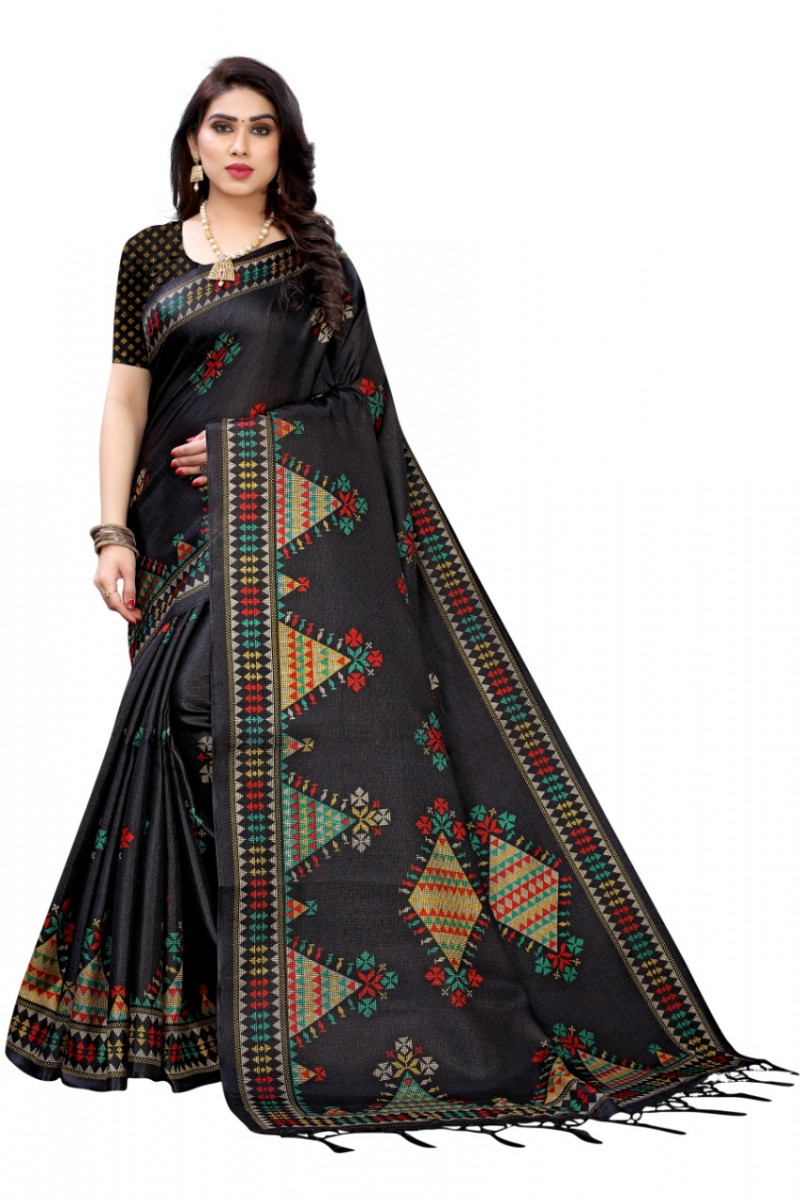 Black Color Printed Heavy Silk Saree