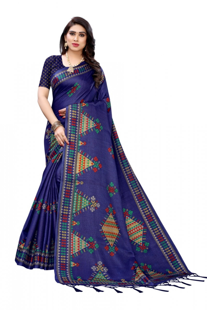 Blue Color Printed Silk Saree