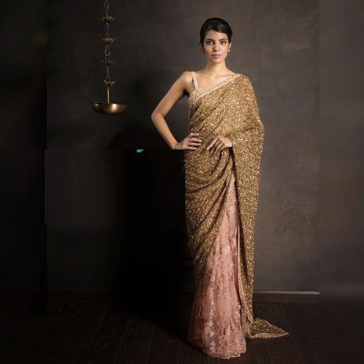 Wedding Wear Golden Saree