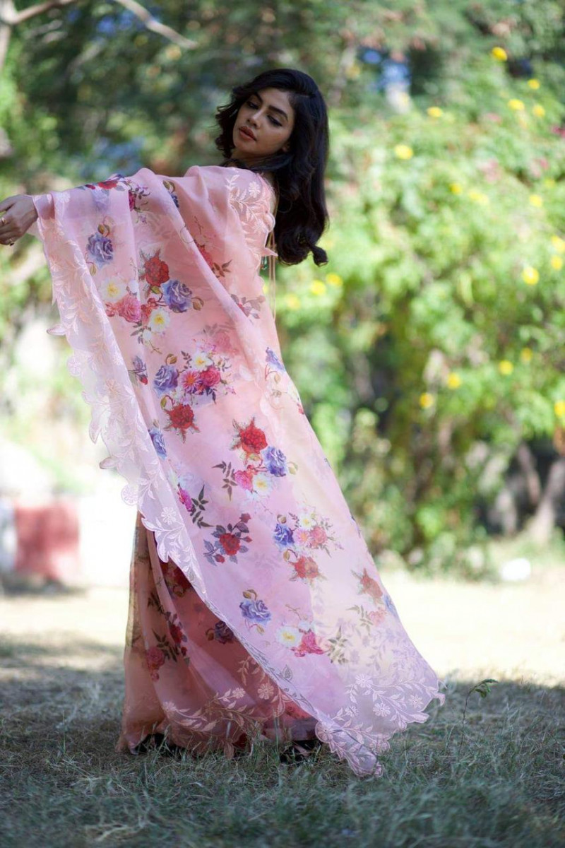 Fancy Peach Organza Saree