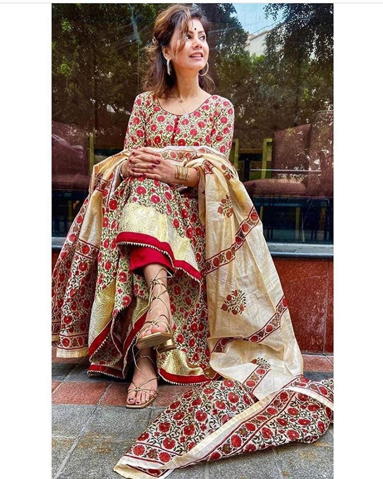 Designer Cream Color Cotton Silk Long Anarkali Suit