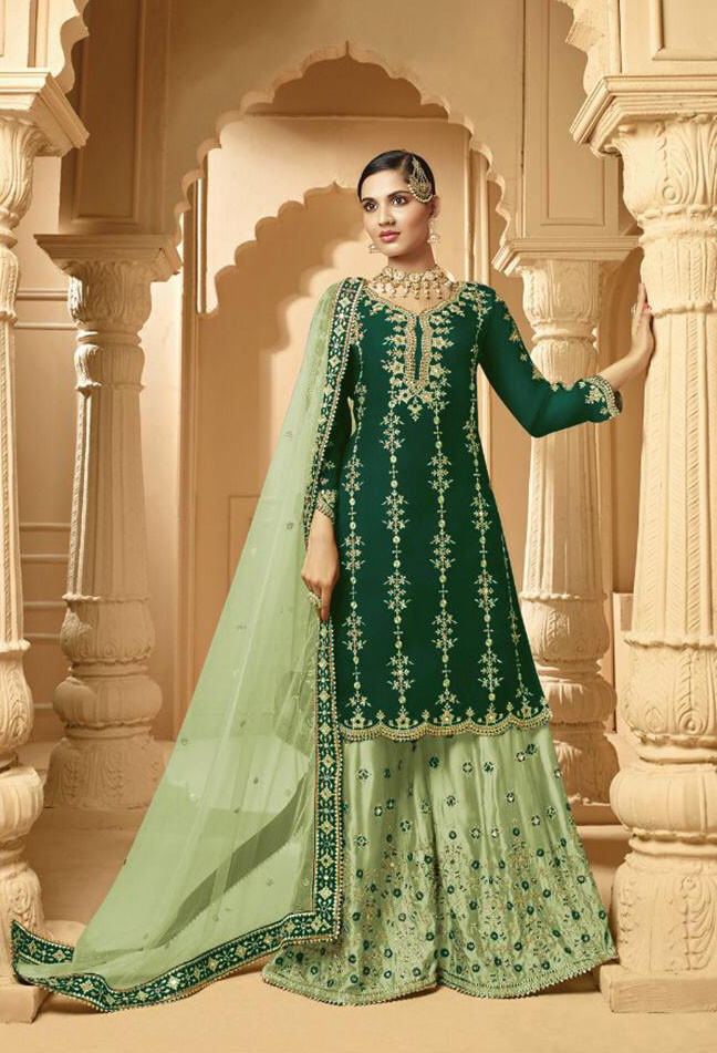Heavy Embroidery Georgette Green Color Sharara Suit