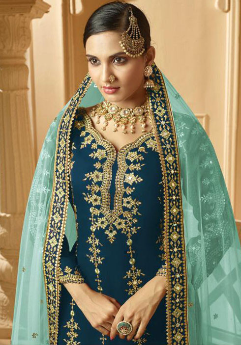 Wedding Wear Rama Color Embroidery Work Sharara Suit