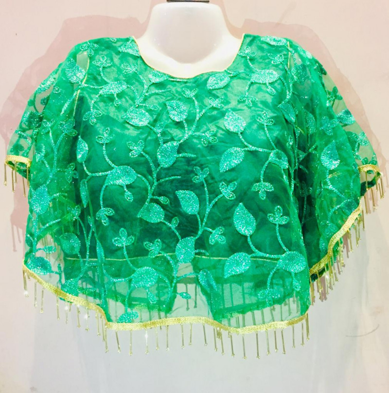 Women Green Color Round Neck Stitched Blouse