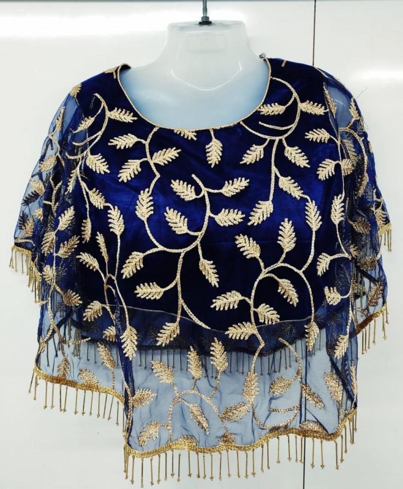 Women Navy Blue Color Round Neck Stitched Blouse