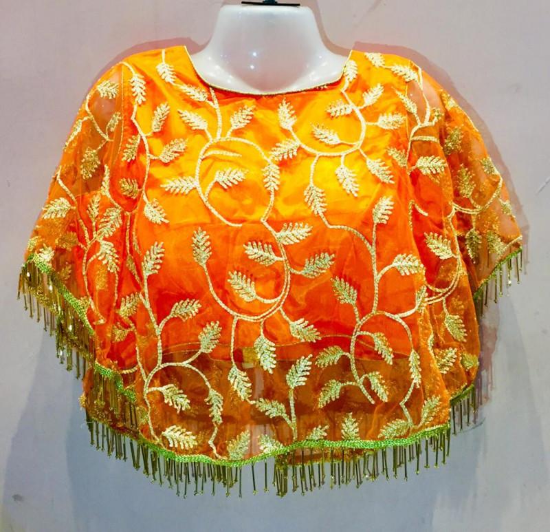 Women Orange  Color Round Neck Stitched Blouse