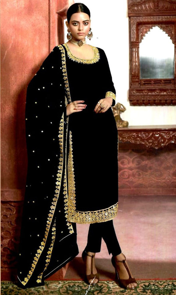 Black Color Heavy Designer Georgette Embroidery Work Lehenga With Suit