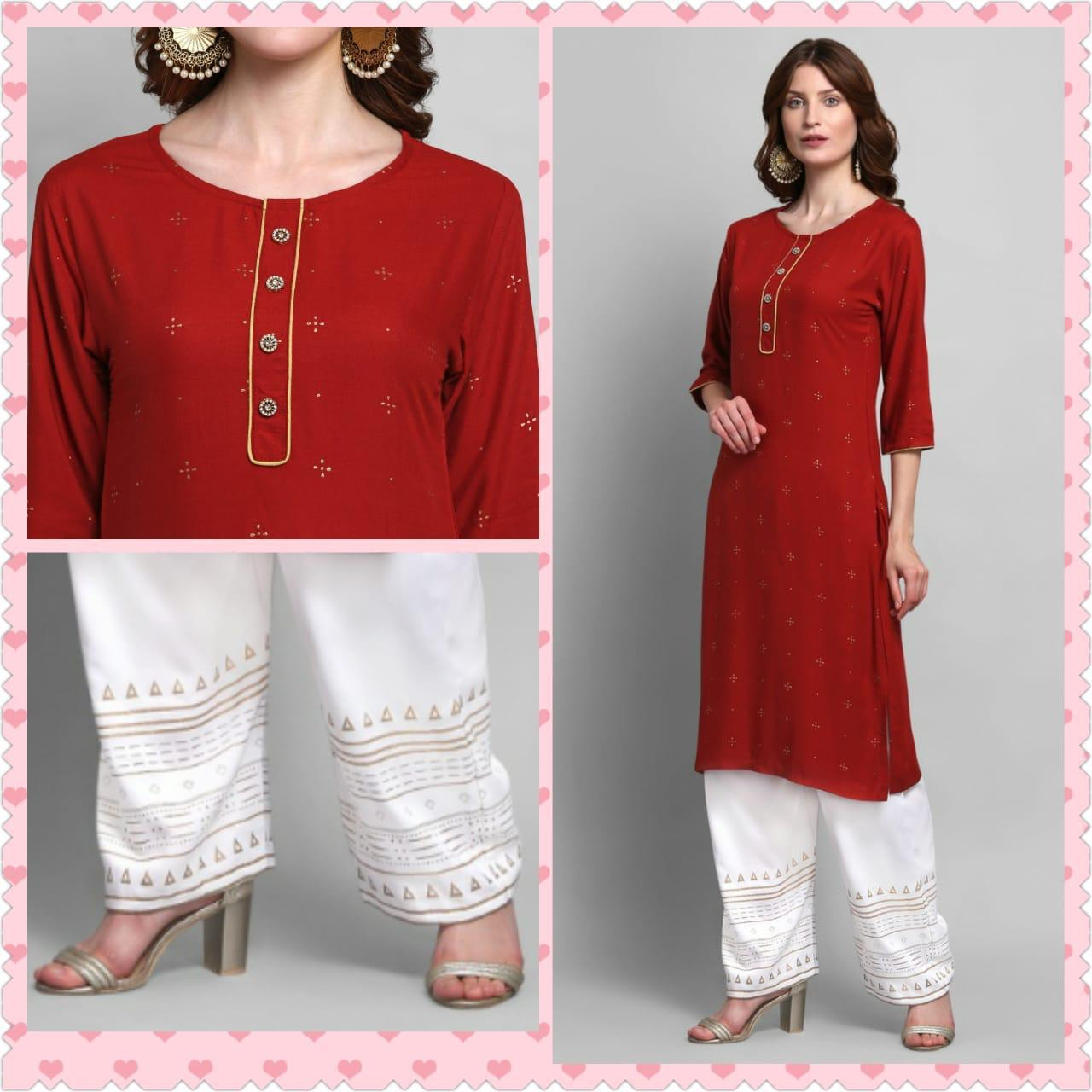 Red Color Reyon Top With White Palazzo