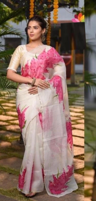 Stylist White Organza Saree