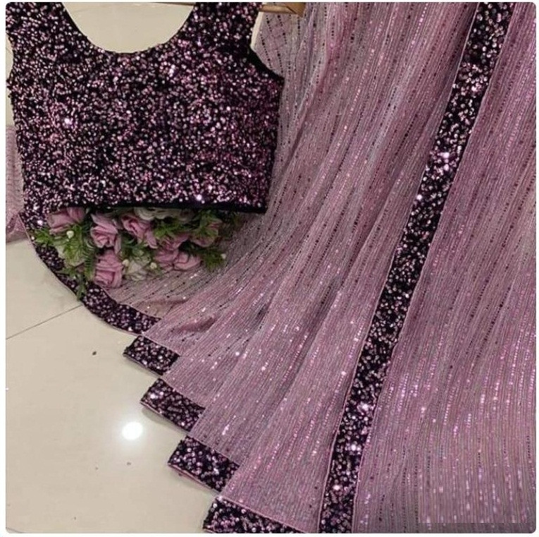 Designer Wine Color Saree