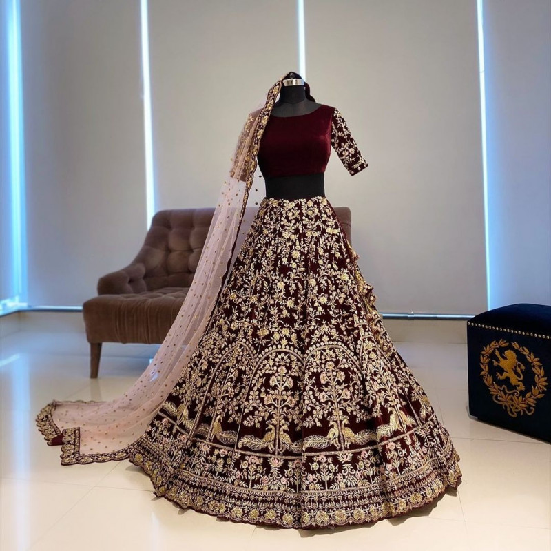 Wedding Wear Maroon Lehenga Choli
