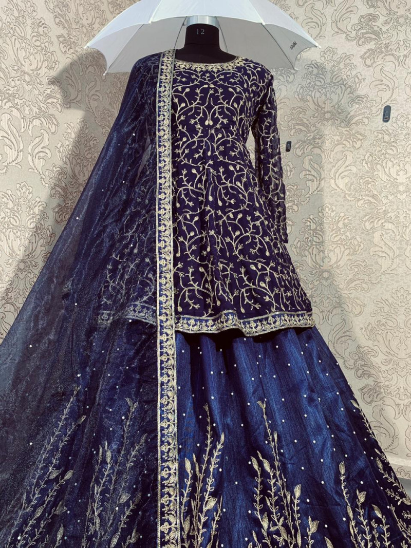 Designer Navy Blue Top With Lehenga