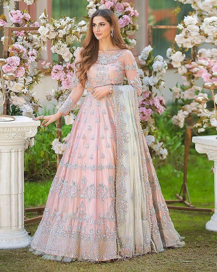 Heavy Light Pink Color Embroidery Party Wear Anarkali Suit
