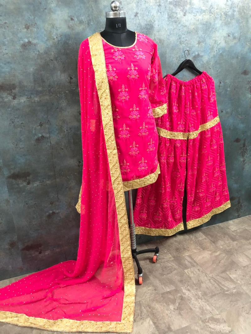 Stylist Pink sharara Suit