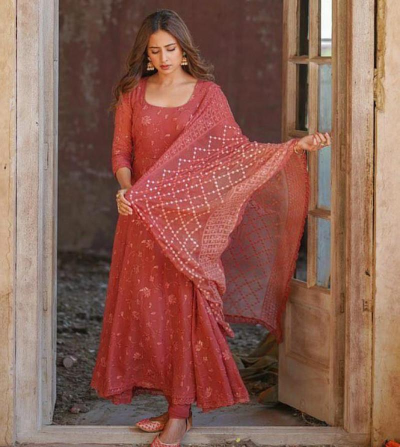 Bollywood Syyle Orange Anarkali Suit