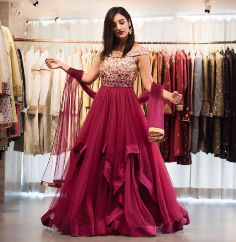Designer Pink Heavy Long Gown
