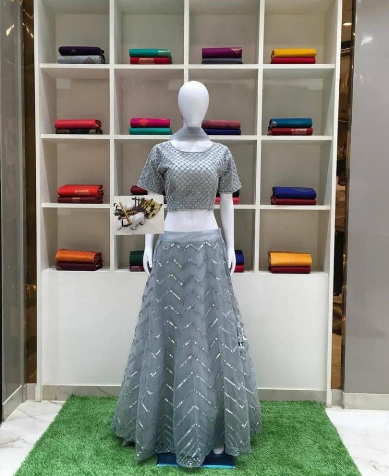Designer Gray Lehenga Choli