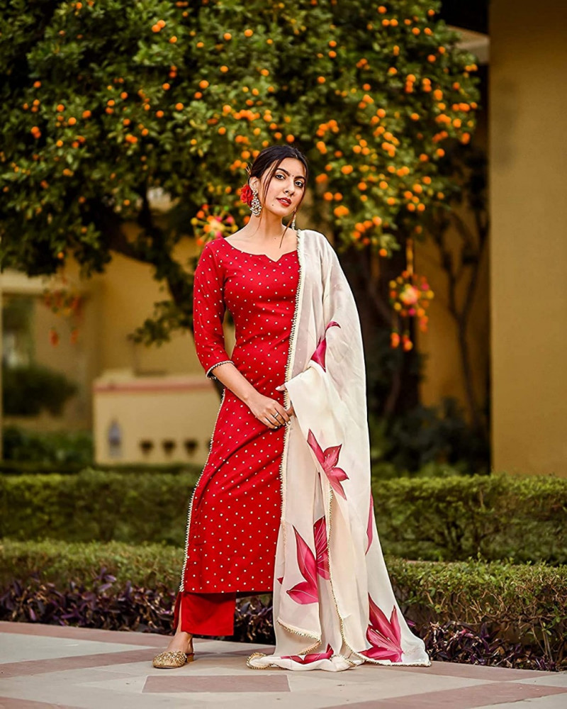 Party Wear Red Palazzo Suit
