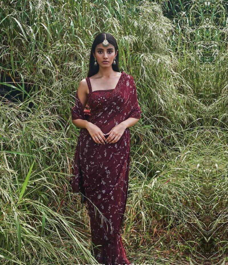 Designer Marron Color Saree