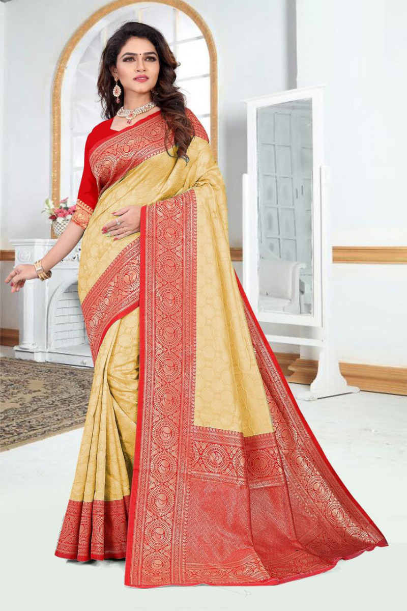 Yellow Color Party Wear Silk Saree