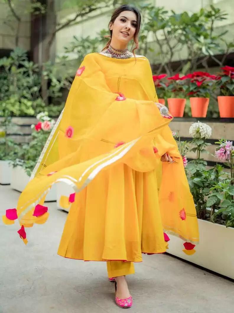 Party Wear Yellow Color Anarkali Suit