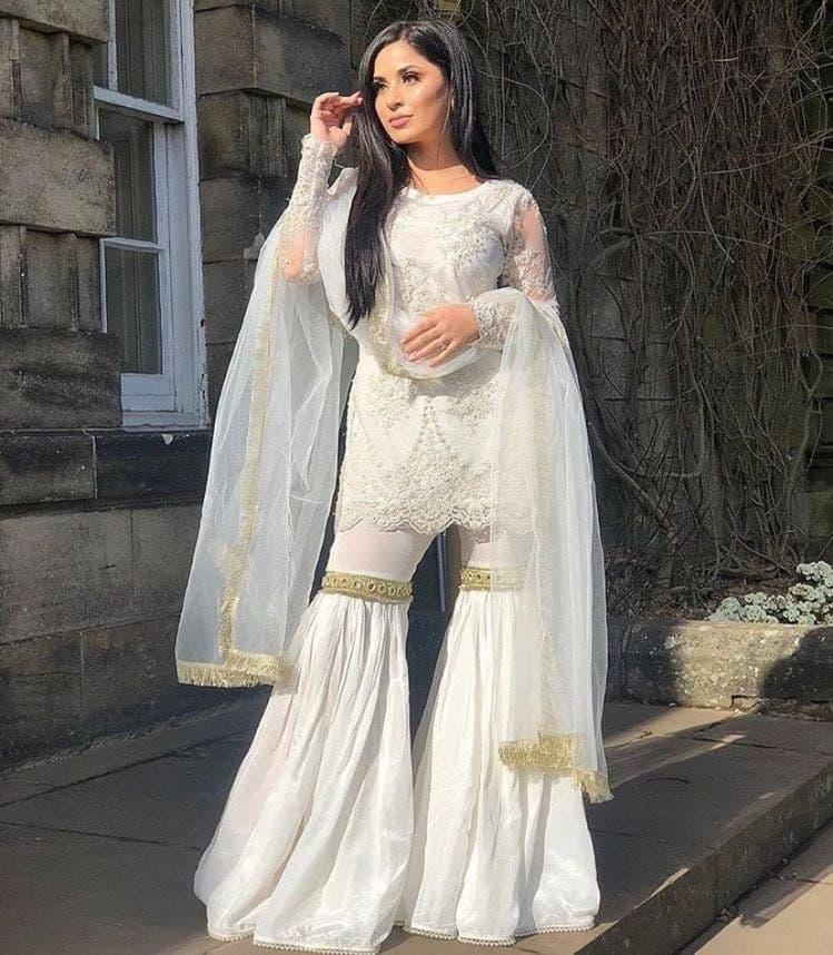 Designer White Stylist Sharara Suit