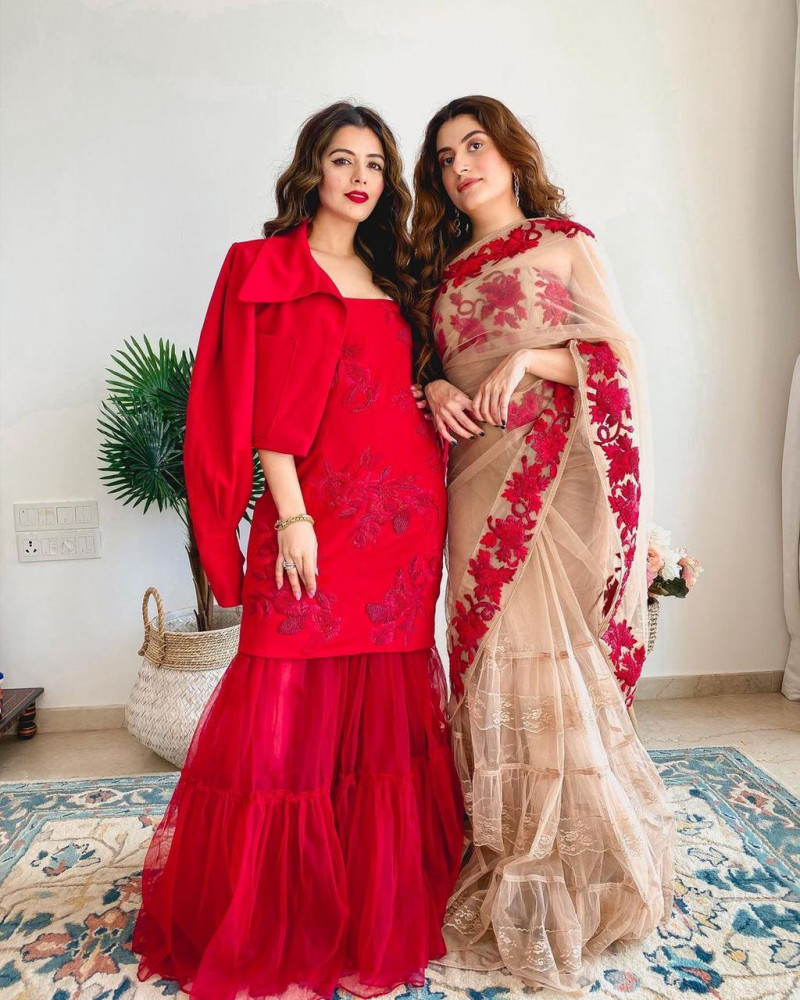 Stylist Cream Saree With Red Sharara Suit Combo