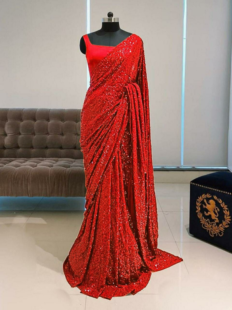 Red Sequence Work Saree For Party Wear