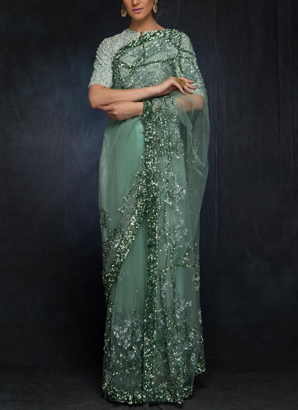 Designer Sea Green Sequin Work Saree