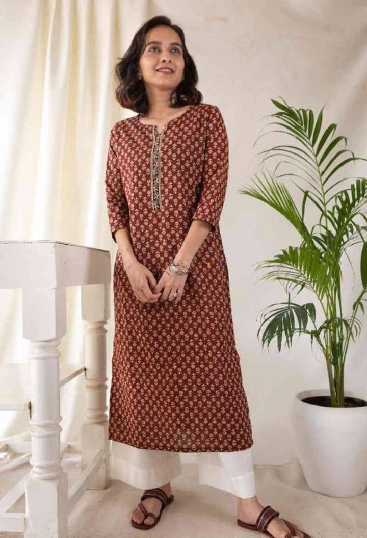 Stylist Brown Cotton Palazzo Suit