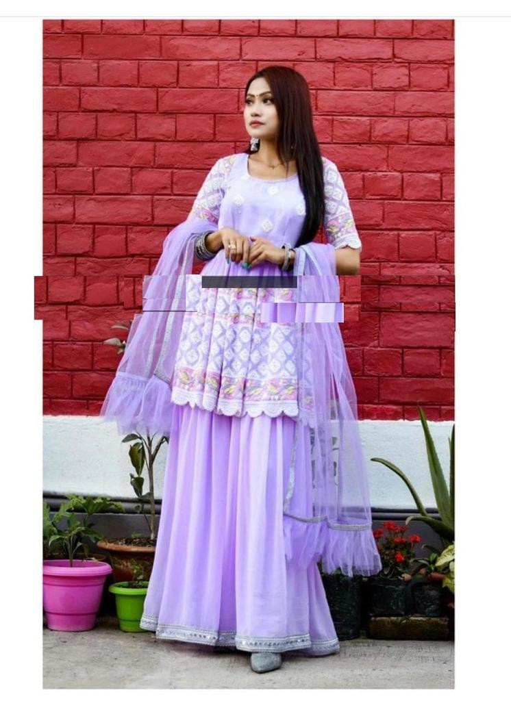 Latest Collection  Purple Sharara Suit