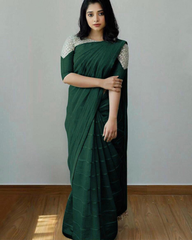 Latest Bottle Green Sequence Saree With Heavy Blouse
