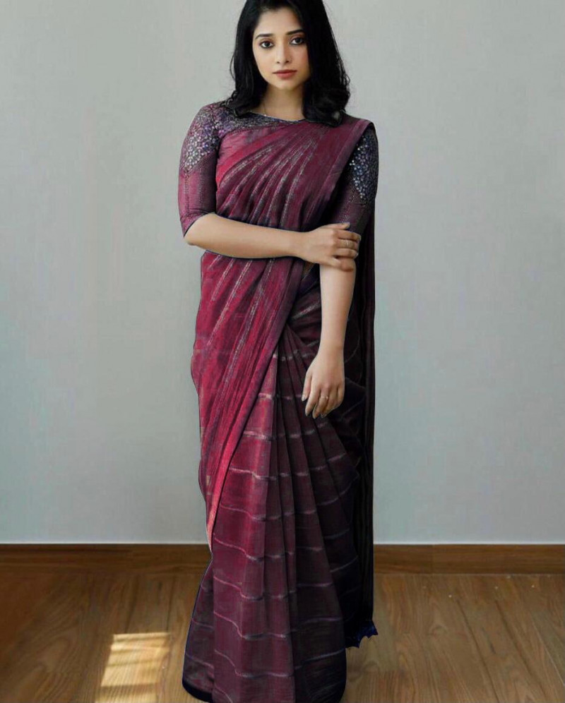 Party Wear Wine Sequence Saree With Designer Blouse