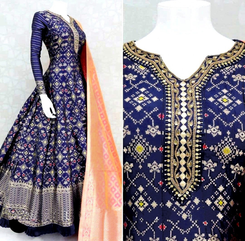 Party Wear Blue Printed Long Gown